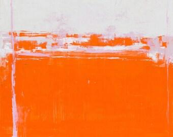 LARGE GICLEE abstract art print,paper,canvas,orange,white,pink,tkafka,traceykafka,landscape,field, art,decor,design