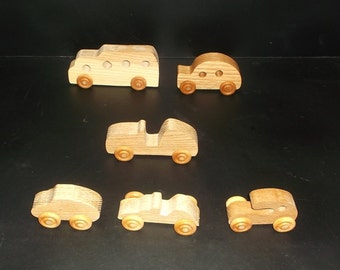 6 Handcrafted Oak Toy Bus, Cars, Race Cars OT-1  non toxic finish