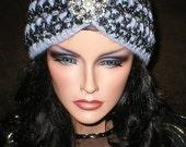 35 % OFF SALE Crochet Womens Fall Winter Vintage Style Reproduction Rhinestones Brooch Head Wrap Turban Ear Warmer