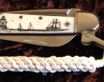 Rigging Knife-Rough Rider-Original Scrimshaw-Castle Hill