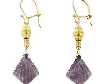 18k Gold Plum Tourmaline Earrings