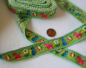 Vintage Jacquard Ribbon Childrens Trim Lime Green with Pink Horses 1 yard