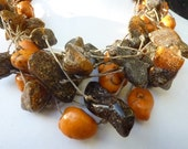 Baltic Amber Necklace /Linen Necklace /Honey Baltic Amber Charm Sunny Yellow/ Amber Jewelry