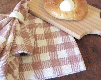 Rustic French Country Cottage Farmhouse Decor Antique Rose Check Cloth Napkin, Lunch Dinner Napkin, Hand Woven Picnic Basket Bread Cloth