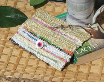 Small Woven Clutch Bag, Phone Case, Boho Wallet Purse, Soft Eyeglasses Case, Reading Sunglasses Case, Cosmetic Bag, Eco Recycled Fabric Bag