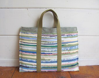 PC Computer Case, Laptop Bag, Personal Computer Bag, Laptop Case, PC Laptop Sleeve Woven Attache Portfolio Tote Boho Chic Bag, Recycled Rag