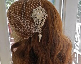 Rhinestone Bandeau Veil, Bridal Wedding Veil, Bridal Bandeau Veil