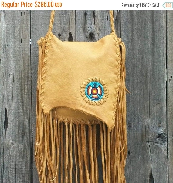 ON SALE Fringed buckskin handbag with beaded thunderbird totem , Beaded crossbody handbag , Fringed buckskin leather possibles bag