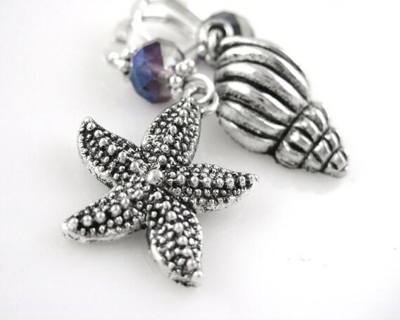 Beach Jewelry - Seashell Earrings - Beach Earrings - Sterling Silver Stafish Earrings - Sea Shell Earrings - Ocean Earrings - Ocean Jewelry