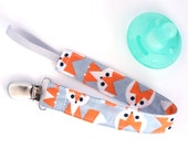 Sale- Organic Babay Foxs - Orange and Gray Fox Personalized Pacifier Clip Set- YOU CHOOSE 1 Pacifiers- Snap or Universal Pacifier Clip Set