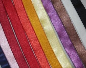 "2 yards Black White Mocha Grape Yellow Red Orange Pink Navy Satin Shiny lingerie bra strap stretch sewing elastic 5/8"" 3/4"" wide"