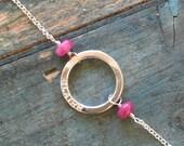 Name bracelet for daughter personalized bracelet name, pink sapphire bracelet September birthstone - Luna