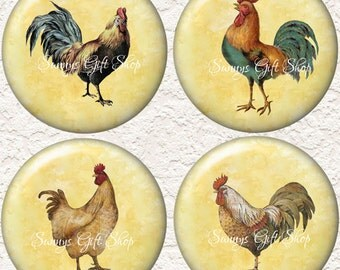 "Rooster Coaster Set of 4 - 3.5"" in Size  Buy 3 Sets Get 1 Full Set Free  027C"