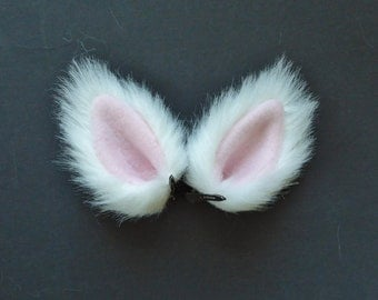 Small White and Pink Faux Fur Ears Cat Wolf Dog Fox Costume Halloween Cosplay