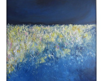Abstract Landscape  Modern Minimalist Acrylic Painting on Canvas - 36x36 Yellow,,Greens, Blues.