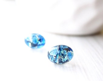 Small Post Earrings, Blue, Minimalist Jewelry, Petite Studs, Navy, Nickel Free Titanium, Silver, Vintage Foil Glass, Black, Dainty, Petite