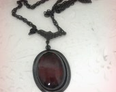 Red Glass Jewelry Garnet Glass Pendant Cameo Necklace Red Necklace Romantic Gift