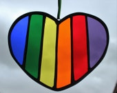 VALENTINE STAINED GLASS - Rainbow Heart Valentine Suncatcher, Gift for Him, Gift for Her, Stained Glass Rainbow, Gift Under 20, Rainbows