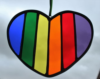 HEART SUNCATCHER - Rainbow Heart Stained Glass, Under 20, BFF Gift, Friendship Gift, Rainbow Glass, Rainbow Suncatcher, Best Friend Gift