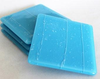 FUSED GLASS COASTERS - Turquoise Drink Coasters, Under 25, Fused Glass, Wedding Gift, Bridal Shower Gift, Southwest Coasters, Blue Coasters