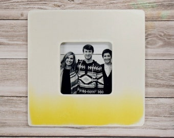 Yellow Ombre Picture Frame,  Photo Frame, Modern Wood Frame, Kids Room decor, Picture frames, Unique wood frames, Modern baby, home