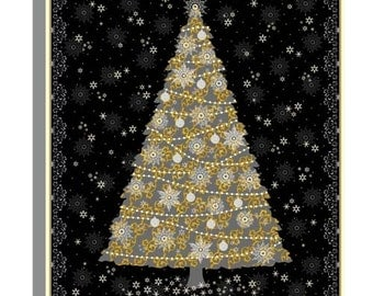 """Celebrate the Season from Quilting Treasures - 36"""" Panel Gold and Gray Christmas Tree on Black"""