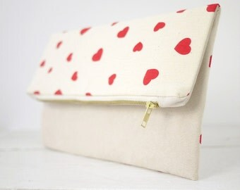 Cute hearts fold over clutch | Valentines Gift for Her