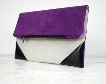 Purple and light gray fold over clutch