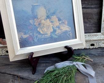 Vintage Floral Framed Print  Shabby Vintage Chic Distressed Picture, Windsor