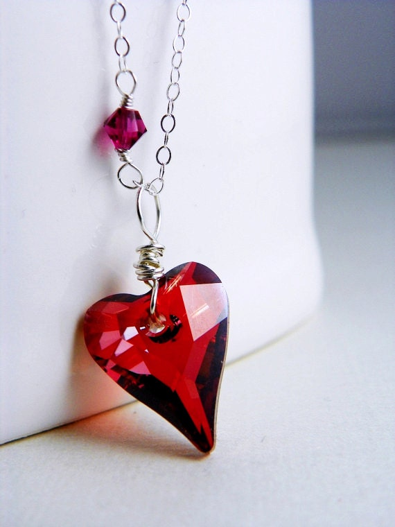 Valentines Gift Idea for Girlfriend, Red Heart Necklace, Valentine Day Gift, for her Anniversary Gift for Wife Red Swarovski Necklace Silver