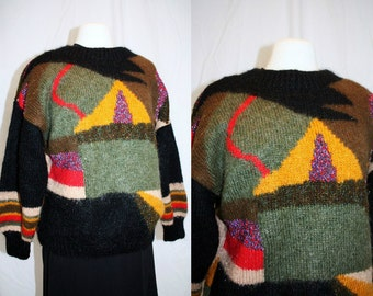 1980'S Mohair Sweater Multicolored Metallic Threads Textured Winter Fall Vintage Retro Abstract Hipster Pullover Black Large Geometric