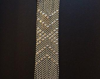 Silver chain bracelet,Mesh Bracelet,Snap button bracelet,Men Silver bracelet,silver bracelet for women, bracelet Vintage style YB242S
