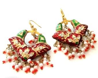 Red green earrings,Lac chandbali,pearl jewelry sale,Indian rajasthani Lac Earrings,Jaipur Jhumkas,Indian Jewellery by Taneesi