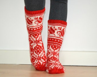 Hand-knitted Red White Wool Socks Scandinavian Floral Christmas Traditional Winter Fair Isle