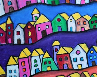 Folk Art Pristine Town of Colors Manarola Abstract Contemporary Prisarts Original Painting 11 X 14