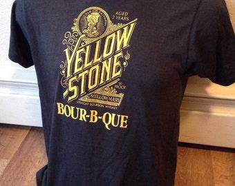 Absolutely Amazing University of Missouri Mizzou 1980 Yellow Stone Bourbon Whisky t shirt super soft adult small medium