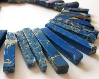 Reserved Imperial Jasper Beads -  Blue Jasper Spike - Gemstone Slab Bar - Top Drilled Graduated Stick - Double Sided - Jewelry Making