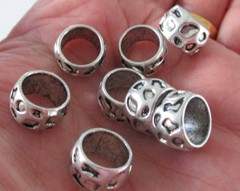 Silver Slider Spacer - Rondelle Spacer - Beads for Leather Cord - Bracelet Pewter Findings - Large Hole Beads - 13mm - Diy 14 Pcs Bulk Price