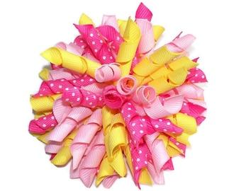 Pink Lemonade Large Korker Hair Bow