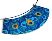Colorful Teal Bib Necklace,  Peacock Jewelry, Leopard, Necklace Statement, Reversible