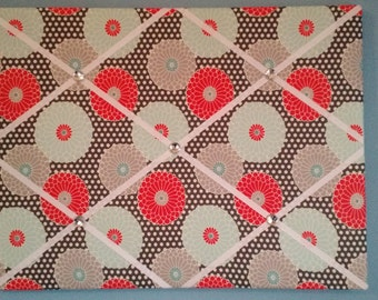 Flower french memo board, gray, blue, and red, 18 x 24, large