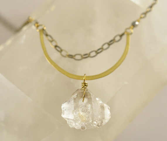 Herkimer Diamond and Brass Chain Necklace