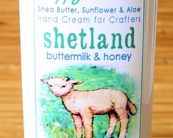 Shetland Buttermilk Honey Scented Hand Cream for Knitters - 2oz Travel Size HAPPY HANDS Lightly Scented Shea Butter Hand Lotion