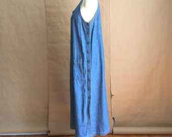 vintage 1990's denim sleeveless maxi dress / sweeps the floor jumper / oversized sack dress / cotton / utilitarian