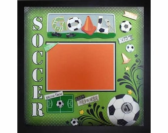 GAME FACE Premade Memory Album Page (Gallery Wood Box Frame Sold Separately)