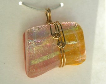 Pink and Mango Asymmetric Glass Pendant with Gold Filled Wirewrap - Cyberlily