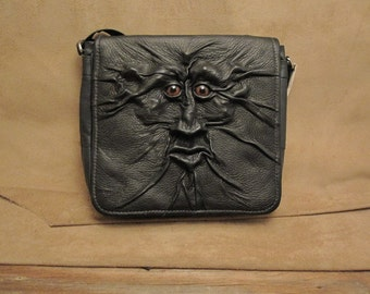 "Grichels leather shoulder/messenger bag - ""Stasmol"" 26848 - black with bronze speckled slit pupil reptile eyes"