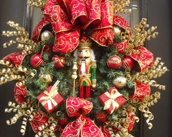 Nutcracker Christmas Wreath, Mantel Wreath, Designer Door Wreath, Christmas Wreaths, Nutcracker Wreath, Red and Gold