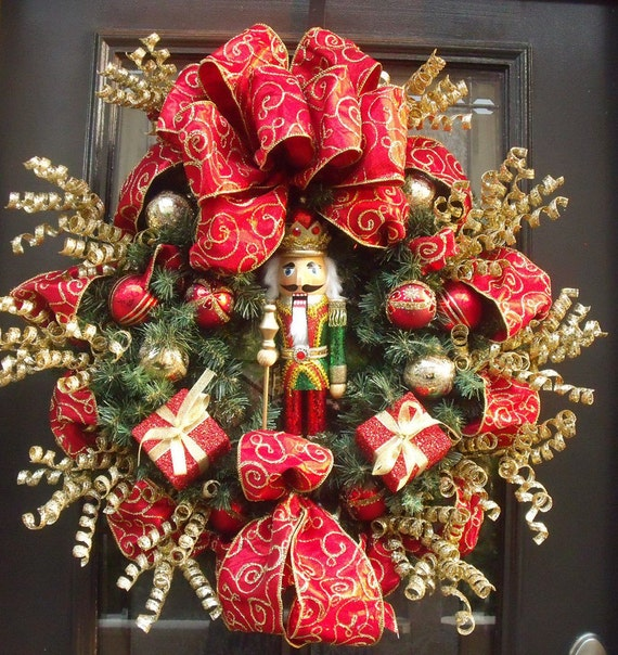 Nutcracker christmas wreath mantel wreath designer door for Decorations noel a fabriquer