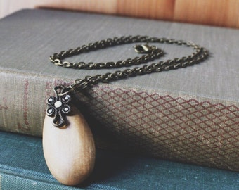 Wooden Zen, Tear Drop Pendant Necklace